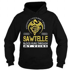 I Love SAWTELLE Blood Runs Through My Veins (Dragon) - Last Name, Surname T-Shirt T-Shirts