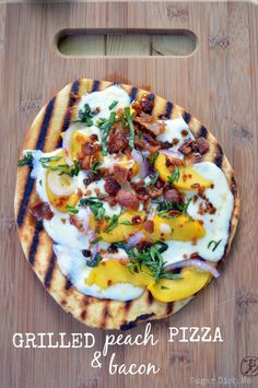 Grilled Peach and Bacon Pizza - a super fast summer meal! Also makes a great appetizer!