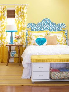 DIY Whimsical Headboard - Trace a curvaceous pattern on a piece of medium-density fiberboard, and cut out. Paint the edge white and cover the front with wallpaper. The pattern will look striking against a blank wall, doubling as artwork in a bedroom. /v