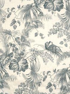DecoratorsBest - Detail1 - Scala 16447-004 - Tropical Toile - Gustavian Blue and Ivory - Fabrics - DecoratorsBest