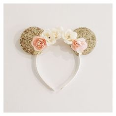 Gold Minnie Mouse Ears on Ivory and Peach Floral Crown Headband ❤ liked on Polyvore featuring accessories, hair accessories, floral garland, head wrap headbands, gold glitter garland, headband hair accessories and floral garland headband