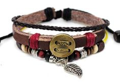 Surfer Hemp Bead and Leather Bracelet by Leatherbracelet11 on Etsy, $7.00