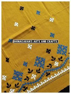 Kutchwork Blouse Piece is intricately handembroidered on the back neck area and hands. *The handwork is very attractive and beautiful. *Goes very well with Cotton Sarees! *Length: Photo Back Neck Photo Hands Photo Full Picture of the Blouse Piece Baby Girl Embroidery Ideas, Diy Embroidery Patterns, Embroidery On Kurtis, Kurti Embroidery Design, Embroidery Neck Designs, Hand Embroidery Videos, Hand Embroidery Flowers, Hand Work Embroidery, Embroidery Saree
