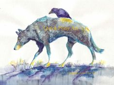 Raven Travels with Wolf copy of my original by QuickPony on Etsy Raven And Wolf, Quoth The Raven, Raven Art, Crows Ravens, Art For Art Sake, Fantasy Creatures, Spirit Animal, Art Images, Watercolor Art