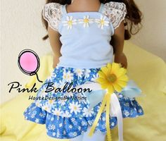 SUNFLOWERS AND SUNNY DAYS !!!  This Outfit is sure to bring some Sunshine into your Little Girls Life..  So very Sweet Blue,Yellow and White