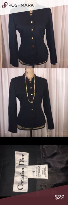 Christian Dior moto style jacket Exquisite designer quality. Exceptional cut and fit. Gold/brass style button up jacket. Jacket is lightweight Christian Dior Jackets & Coats
