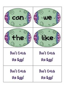 Don't Crack the Egg ... sight word game