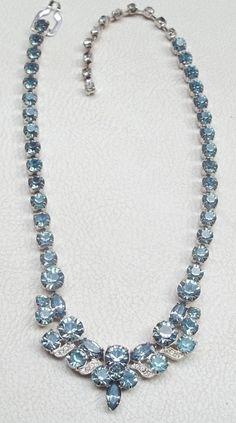 EISENBERG ICE Vintage Necklace Aquamarine Blue & Ice Rhinestone Ribbons #Eisenberg