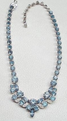 EISENBERG ICE Vintage Necklace Aquamarine Blue & Ice Rhinestone Ribbons #Eisenberg