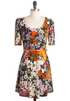 Plant by Numbers Dress - Short, Multi, Orange, Green, Blue, White, Floral, Belted, Casual, A-line, Short Sleeves, Fall