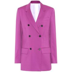 Calvin Klein 205W39NYC Double-Breasted Wool Blazer ($1,730) ❤ liked on Polyvore featuring outerwear, jackets, blazers, purple, purple jacket, wool jacket, double breasted jacket, woolen jacket and purple blazers