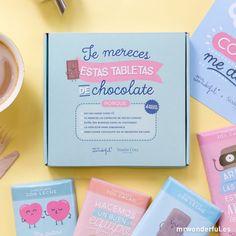 "Pack de 4 tabletas ""¡Arriba el chocolate!"" #mrwonderfulshop #box #chocolate #quotes"
