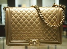3f58812d76bb Chanel Dark Gold Boy Large Bag #chanel #handbags Chanel Le Boy, Coco Chanel