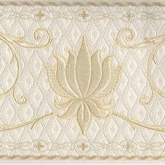Victorian Gold Metallic Scrolls on Ivory Satin Finish  Wallpaper Border A103 #BrewsterWallcovering #VictorianScrolls #Wallpaper