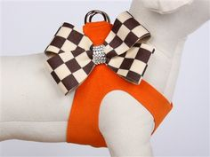 Susan Lanci Windsor Check Nouveau Bow Harness for Designer Dog