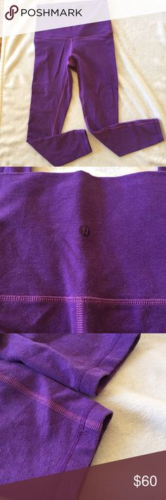 "High Waisted Lululemon Wunder Unders Gently used Lululemon Wunder Unders.  This fabric is not the full on luxtreme...it is more of cotton. It had the same worn in look when I purchase them. This is in the color ""violet tender"". Size 6. Unfortunately the tag on the pants came off after 2 washes.  I had these hemmed at the Lululemon store, the inseam is now 25"". I am 5'4 and this hits a little above my ankles. I will include a Lululemon shopping bag with your purchase. All my Lululemon items…"