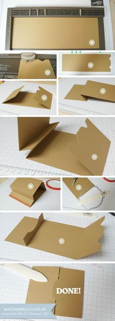 1. Base: cut down A4 Cardstock about 3/32 of an inch (just a tiny bit), hight: 4-1/8″ fold : 2-1/2″, 3-1/2″, 4-1/2″ und 9-1/8″ 2. Punch at 1″ (with Envelope Punch Board) 3. now you should have this 4. 4, 5 & 6: fold like shown, you now should have a Mountain Fold 5. use Sticky Tape to close the Mountain Fold 6. Use Framelits or one Punch of your Desire to make the Slot for your Gift Card 7. You should have this. Now you can make your Belly Band an decorate your Gift Card Holder.