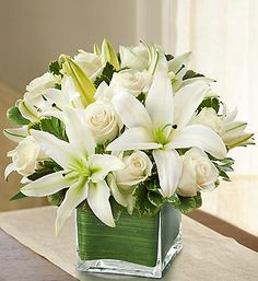 Modern Embrace™ White Rose and Lily Cube | 1800FLOWERS.COM-98920