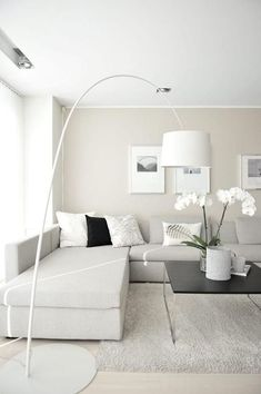 White theme room decoration home staging, living room white, living room modern, home Modern White Living Room, Beige Living Rooms, Living Room Color Schemes, White Rooms, Small Living Rooms, Modern Room, Living Room Sofa, Living Room Designs, Living Room Decor