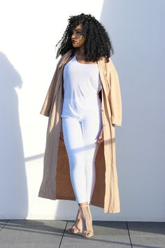 Camel and white Is the New Black and White Camel Cardigan, Highwaist Denim, White top – thrifted , Nude heels from nasty gal  On a Chic Diet
