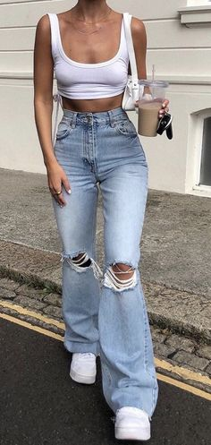 Glamouröse Outfits, Teen Fashion Outfits, Retro Outfits, Cute Casual Outfits, Look Fashion, Stylish Outfits, Spring Outfits, Cute Jean Outfits, Casual School Outfits
