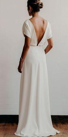 24 Awesome Simple Wedding Dresses For Cute Brides ❤️ simple wedding dresses straight low back with sleeves modern lena medoyeff bridal ❤️ Full gallery: https://weddingdressesguide.com/simple-wedding-dresses/ #bride #wedding #bridalgown