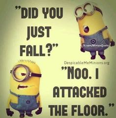 """Did you just fall? """"Noo i attacked the floor"""""""