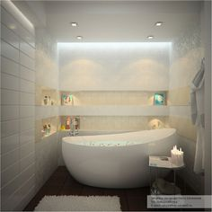 "The soft glow of the light and the color makes this modern bath ""dreamy."""