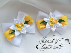 "Items similar to Scrunchy ""Daffodils"" on Etsy Diy Ribbon Flowers, Kanzashi Flowers, Ribbon Art, Fabric Ribbon, Ribbon Crafts, Flower Crafts, Ribbon Bows, Fabric Flowers, Making Hair Bows"