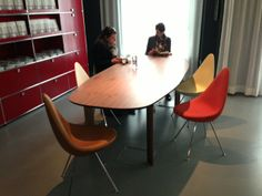 At Fritz Hansen   New Drop chairs and Analog table