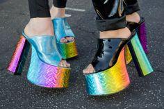 just stick holographic paper Stilettos, High Heels, Crazy Shoes, Me Too Shoes, Funky Shoes, Kid Shoes, Kitsch, Atlanta De Cadenet Taylor, 90s Platform Shoes
