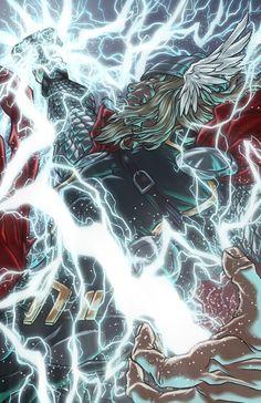 latanieredecyberwolf: God of Thunder by Sebastian von Buchwald Marvel Comic Universe, Marvel Dc Comics, Comics Universe, Epic Characters, Marvel Characters, Cartoon Cupcakes, Superhero Villains, The Mighty Thor, Fun Comics