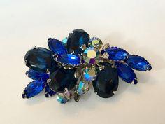 Vintage Blue Rhinestone Brooch Sapphire by AntiqueJewelryForFun