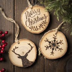 Create a beautiful wood-burned ornament with our wood burning tool! Christmas Ornament Crafts, Christmas Wood, Holiday Ornaments, Homemade Ornaments, Wooden Ornaments, Custom Ornaments, Wood Burning Crafts, Wood Burning Art, Rustic Crafts