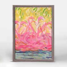 """""""Flamingos In A Grove"""" Mini Framed Canvas from GreenBox Art + Culture. Size - 5""""x7"""". Art by Maren Devine. Rustic frame color is predetermined. We've got wall art for all ages and interests. Browse our entire collection of wall art for the home! Use code GREENBOX10 at checkout for 10% off your entire purchase. Some exclusions apply, view offer details for more information."""