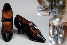 Circa 1880s shoes remade from black leather modern shoes, trimmed with black silk and beading