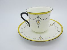 Vintage Art Deco SHELLEY Black White Yellow Heart Swag English Cup & Saucer MINT | eBay