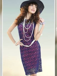 Crochetemoda: Vestido de Crochet Roxo