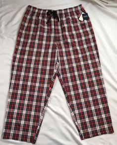 Harbor Bay Mens Pajama Bottoms Size 1XL PJs Sleep Lounge Pants Plaid Black Red | eBay