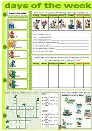 English worksheet: DAYS OF THE WEEK