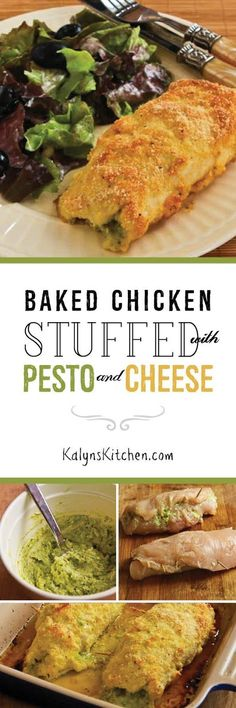 Baked Chicken Stuffed with Pesto and Cheese is a delicious low-carb main dish that's popular all year long on the blog. This would be an impressive meal when you're having guests for dinner! [found on KalynsKitchen.com]