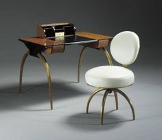 Art Deco Women's Desk and Chair by Maurice Dufrène ca. 1930 Art Deco Furniture, Furniture Styles, Furniture Making, Home Furniture, Furniture Design, Charlotte Perriand, Art Nouveau, Art Deco Era, Art Deco Design