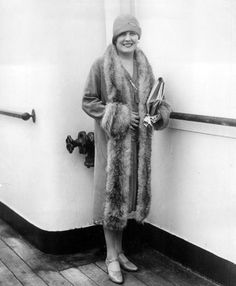 After a year's stay in Europe, Edna Purviance returns to the United States aboard the SS Homeric. September, 1927