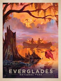 Vintage Travel Poster - Everglades National Park - Silent Splendor - This oil painting by Kai Carpenter celebrates the untamed beauty of Everglades National Park - (Anderson Group). Retro Poster, Vintage Travel Posters, Party Vintage, Vintage Style, Everglades National Park, Florida Everglades, Florida Usa, American National Parks, Tourism Poster