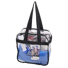 Clear zippered tote bag that features two convenient carry handles ...