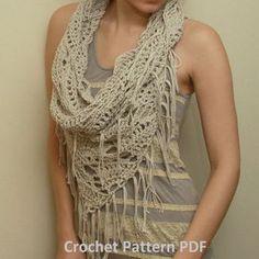 Crochet Pattern PDF - Triangle Cowl - Electronic PDF File - Fringed Infinity Scarf Crochet Pattern