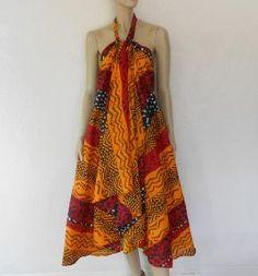 Vintage Maxi Dress, 80's Ethnic Waxed Cotton Print Maxi Skirt, Sarong, Maxi Dress
