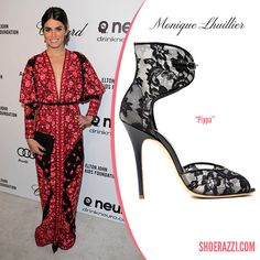 Nikki Reed in Monique Lhuillier Spring 2013 Pippa Ankle-Cuff Sandals - ShoeRazzi