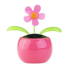 FENICAL Dacing Solar Flower Car Decor Solar Powered Happy Dancing Flower in the Pot Office Desk Display (Pink)