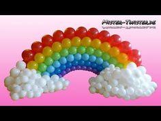 Balloon Rainbow, Decoration, Birthday, Ballon Regenbogen, Dekoration, Geburtstag - YouTube Rainbow Balloon Arch, Balloon Arch Diy, Balloon Wall, Rainbow Birthday Party, Unicorn Birthday Parties, Birthday Balloons, Rainbow Party Decorations, Balloon Decorations, Birthday Decorations